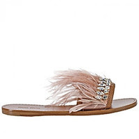 Crystal w/ feathers sandals