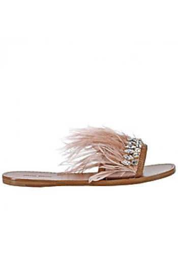 Love Shop Pray Crystal w/ feathers sandals