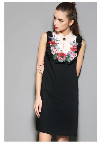 Love Shop Pray Floral appliqué sleeveless dress