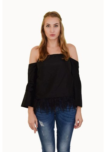 Preeti Chandra Silk off shoulder top