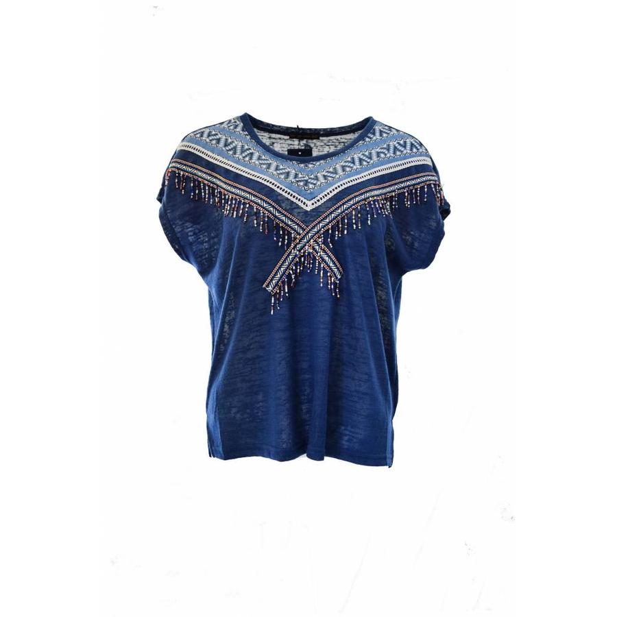 Hand beaded embroidered top