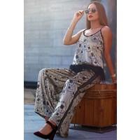 Velvet printed trouser