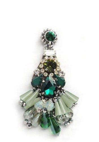 Bruma/Vanity Crystal Drop Earrings Green
