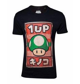 BIOWORLD Super Mario T-Shirt Propaganda Poster Inspired 1-Up Mushroom