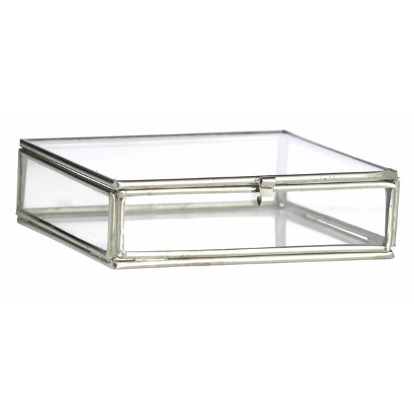 Madam Stoltz glazen boxje vierkant zilver