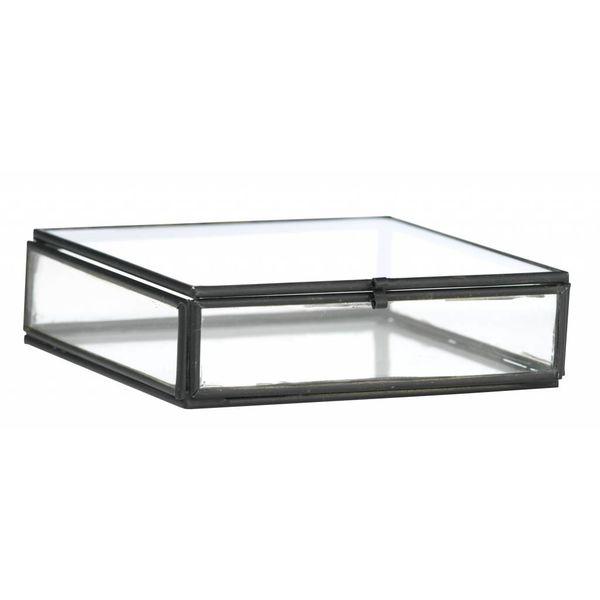 Madam Stoltz glazen boxje vierkant zwart