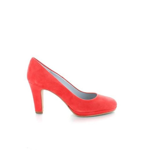 Basispump Capri, Suede Pumps Koraalrood
