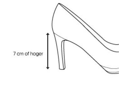 Hoge hak (> 7 cm)