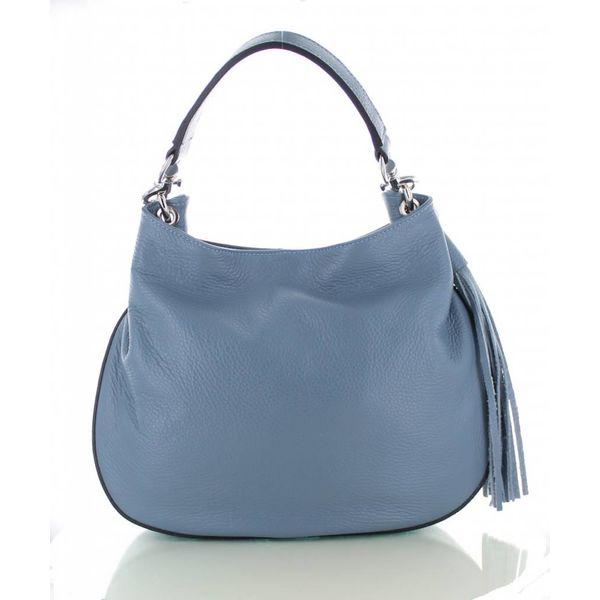 Sofia, ijsblauwe leren stijlvolle handtas