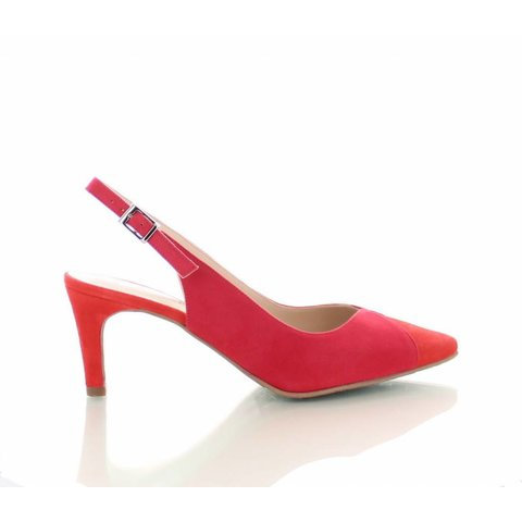 Mirano, Suede Slingback Pumps Rood