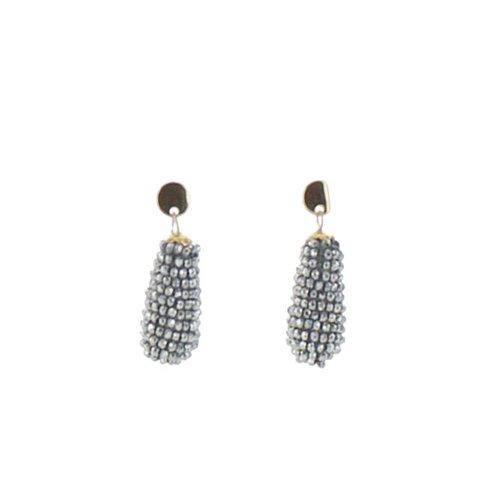 Colori oorbellen kegel zilver/grijs