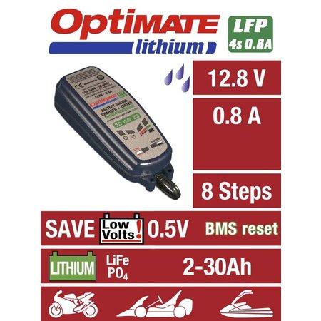 Tecmate Optimate Lithium 0,8A - voor lange en goede werking LiFePO4/LFP-accu