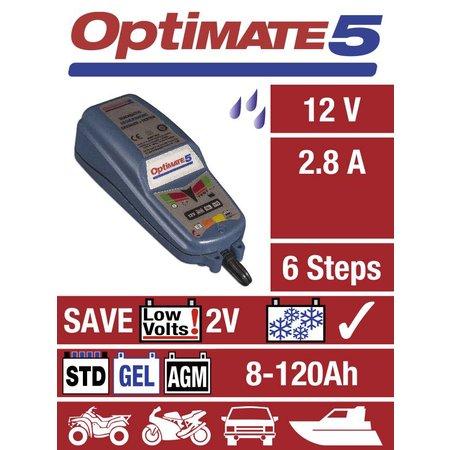 Tecmate Acculader / Onderhoudslader voor motor Optimate 5