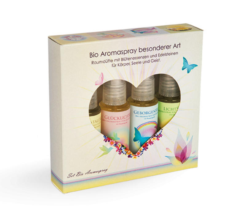 Bio Aromasprays mit Edelsteinen | Geschenk-Set
