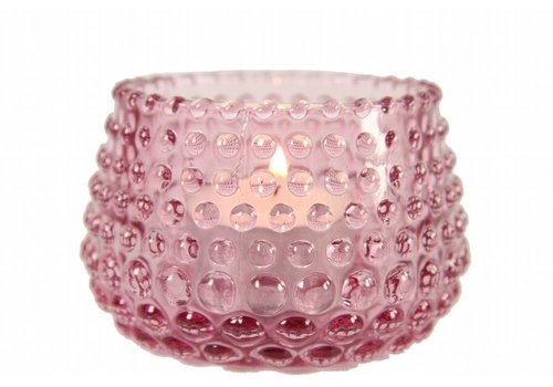 Teelichthalter | Glas | Rosa