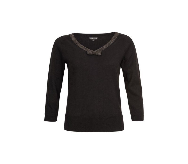 Pullover | Bow Top Knit Lapis | Black