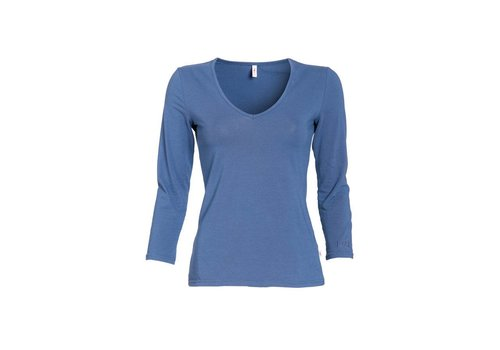 Blutsgeschwister Shirt | logo v-neck 3/4 sleeve | blue monday