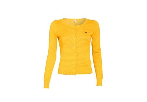 Blutsgeschwister Cardigan | logo knit cardigan | yellow me