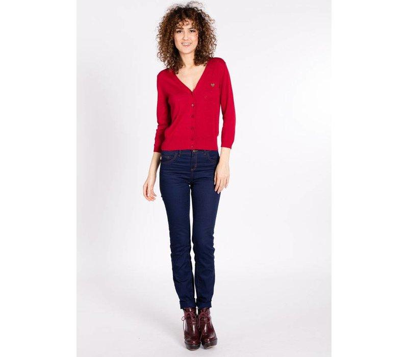 Cardigan | logo knit cardigan short | chili cherrie