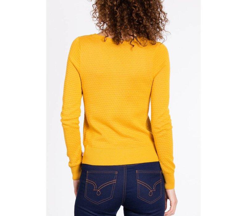 Cardigan | logo knit cardigan | yellow me