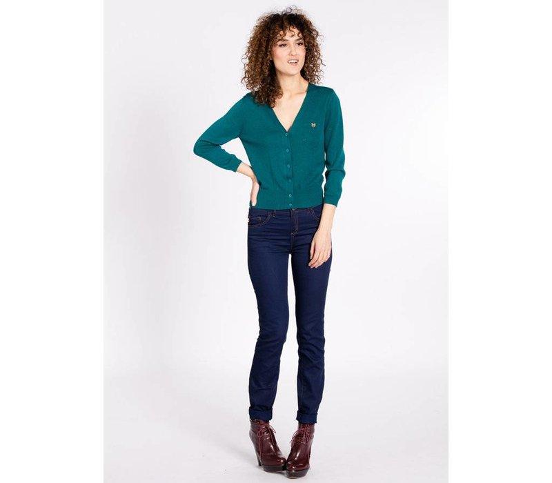 Cardigan   logo knit cardigan short   green lake