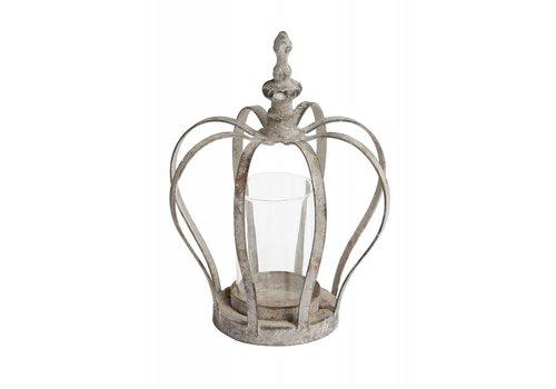 Windlicht Krone | Eisengrau | 13.5 x 18.5cm