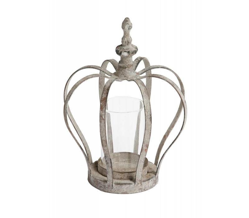 Windlicht Krone   Eisengrau   13.5 x 18.5cm
