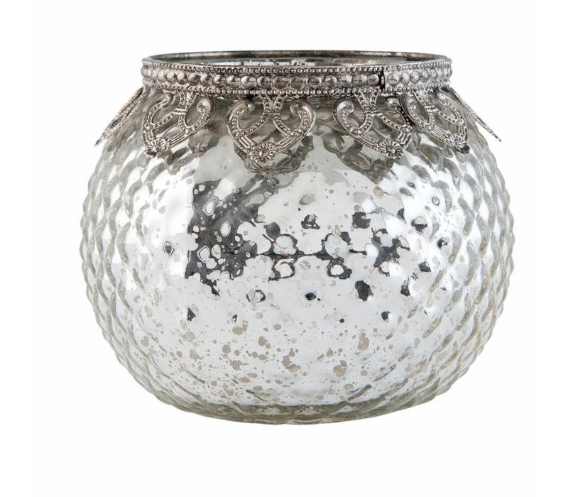 Teelichthalter | Antiksilber | Ø 11*10 cm