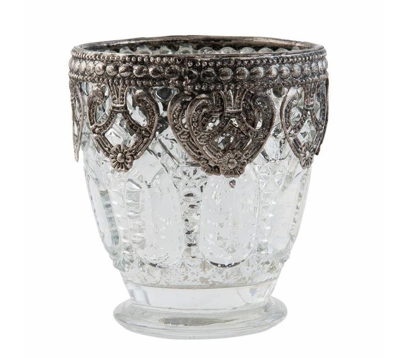 Teelichthalter | Antiksilber | Ø 7*8 cm | mittel