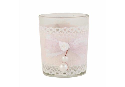 Clayre & Eef Teelicht  | Perle | Rosamasche | Rosa