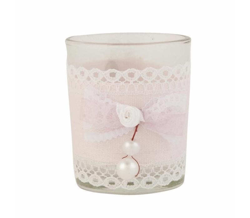 Teelicht    Perle   Rosamasche   Rosa