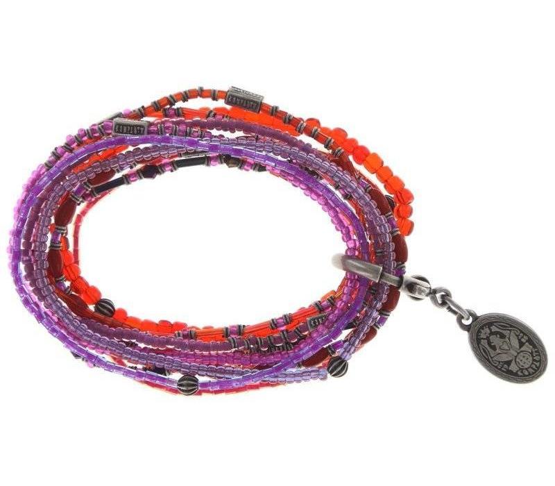 Armband elastisch | Petit Glamour d´Afrique |lila/orange