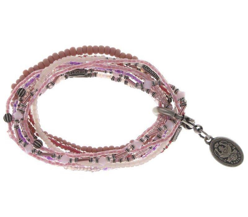 Armband elastisch | Petit Glamour d´Afrique | pink silver