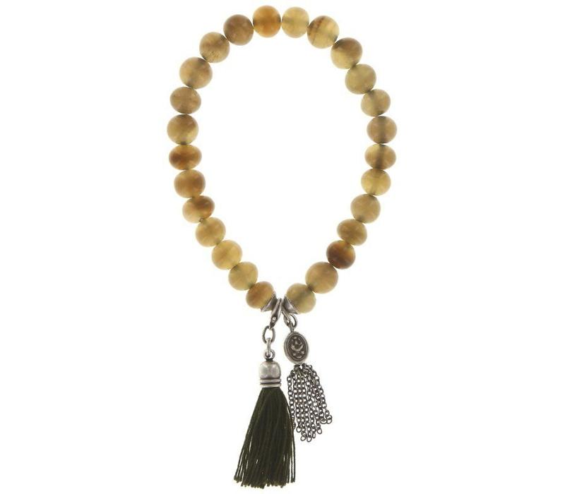 Armband elastisch | Buddha bracelet 8 mm | white