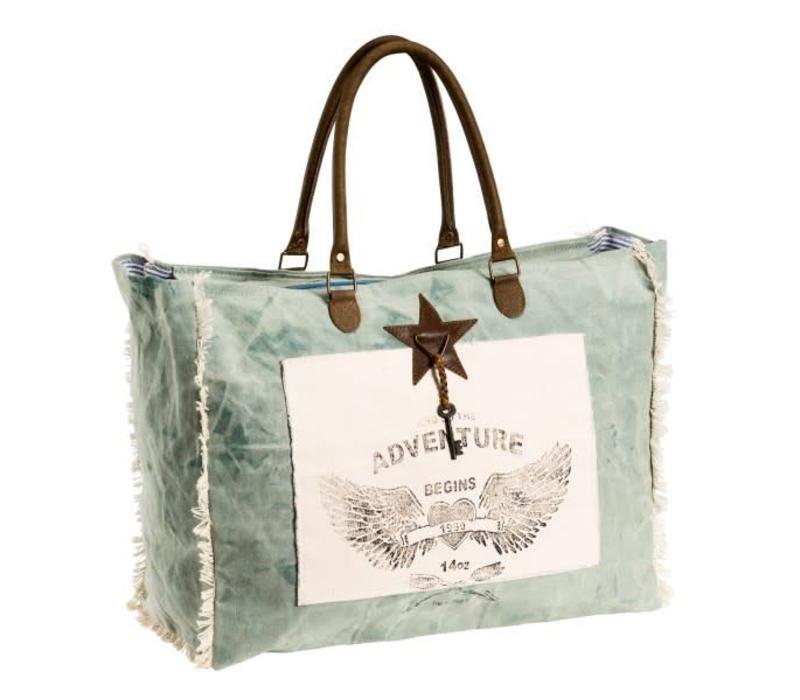 Shopper Gross | Weekender | Mint | Canvas | Leder