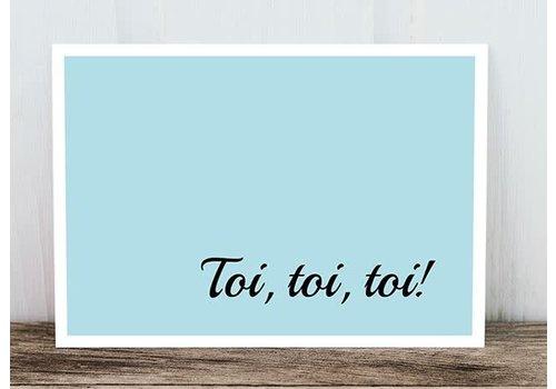 Postkarte | Toi, toi, toi | Hellblau