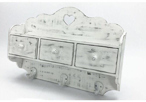 Enchanté Wandregal | Shabby Chic | 3 Schubladen | Weiss