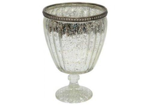 Teelichthalter | Hoch | Altsilber | Vintage