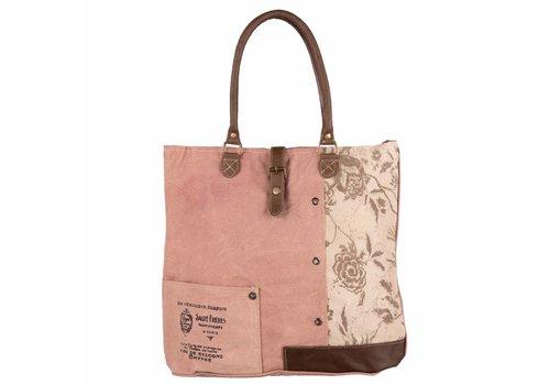 Clayre & Eef Tasche Abby  | Canvas | Braun/ Rosa