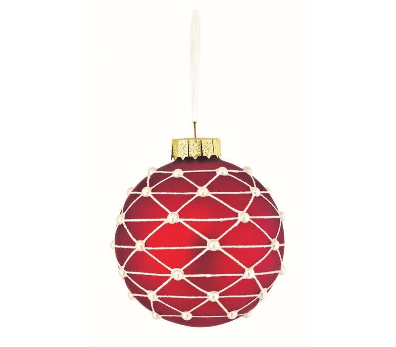 Christbaumkugel | Glas Rot | Perlen Verzierung