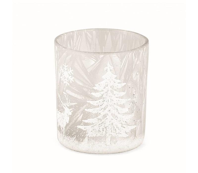 Teelichthalter | Milchglas | Winterzauber | Klein