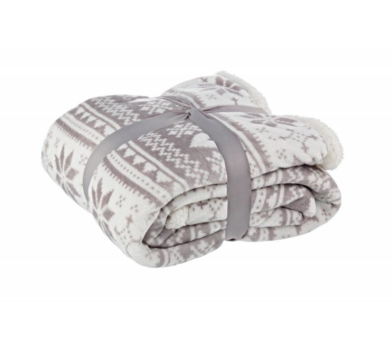 Plaid | Superflauschig | Weiss/Taupe | 130x170