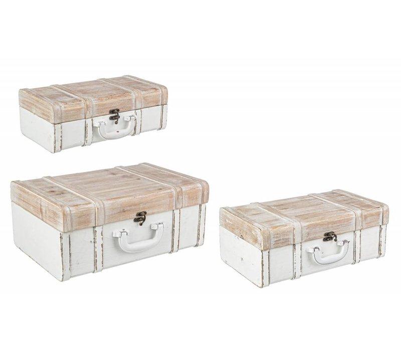 Holztruhe | Koffer | Weiss/Beige | 3 Grössen