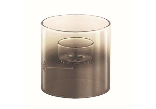 Teelichthalter | Rauchglas, Silber | Einer