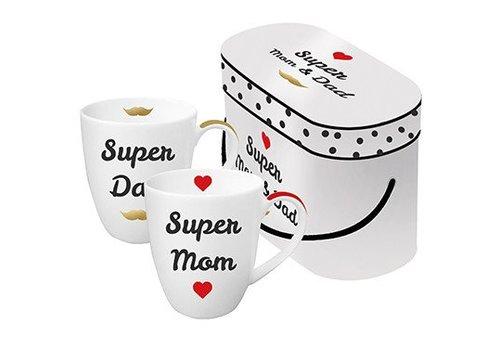 Geschenkset Tassen   Super Mom & Super Dad