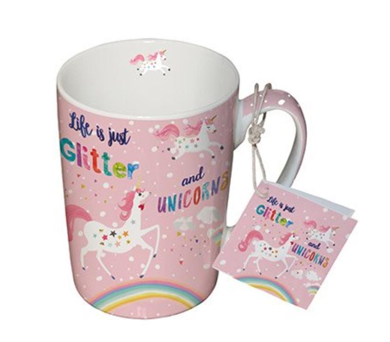 Tasse mit Henkel | Glitter & Unicorns | Porzellan