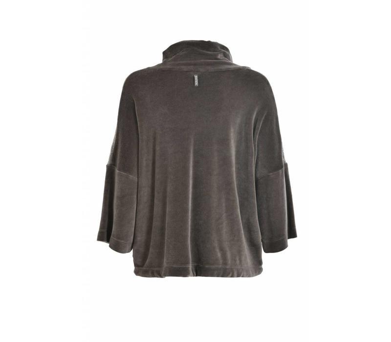 Sweatshirt | Chenille Crop | Niki Plüsch |Caviar grey