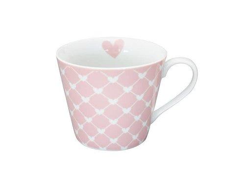 Krasilnikoff Tasse | Happy Cup | Diagonal Hearts pink