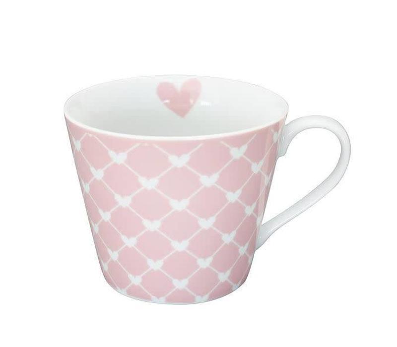Tasse | Happy Cup | Diagonal Hearts pink