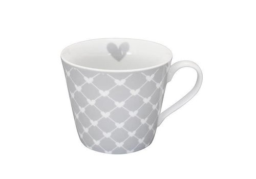 Krasilnikoff Tasse | Happy Cup | Diagonal Hearts grey